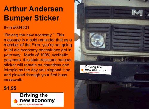 Arthur Andersen Souvenirs & Gifts. Bumper Sticker