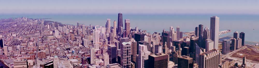 Панорама города Чикаго. Небоскребы. Небоскребы. Небоскребы...