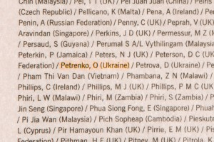 Financial Times 18th September 2008, ACCA Finalists List, Petrenko Oleksandr