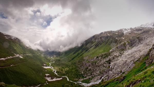 Furka Pass view on Simplon pass / Вид с перевала Фурка на Симплон
