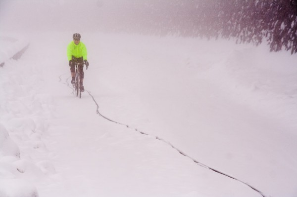 Mountain Biker in Snow