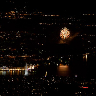 Swiss National Holiday, Geneva city view at night, Fireworks